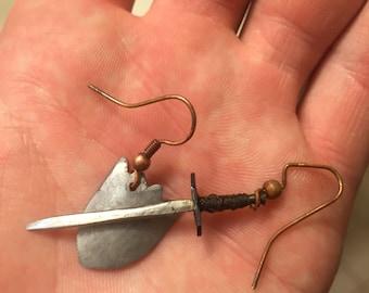 Medieval Sword and Shield Earrings