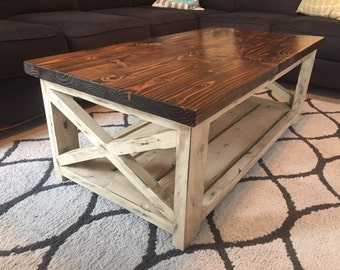 farmhouse coffee table with a vintage French finish