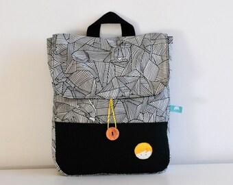 HANDMADE backpack, geometric animal  and black fabric, Kids Backpack, Toddler BACKPACK