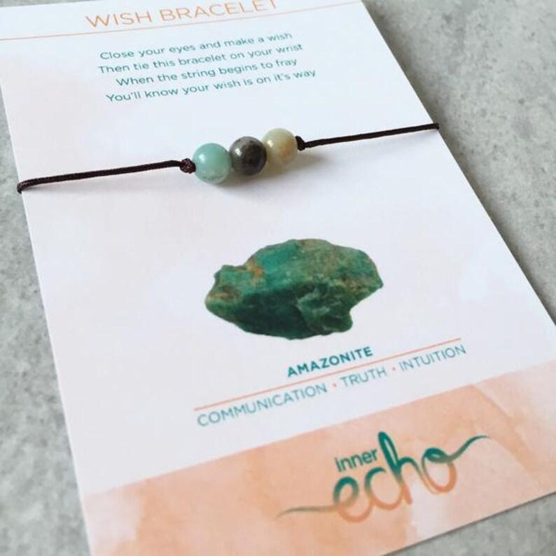Amazonite Gemstone Wish Bracelet  Meaningful Friendship image 0