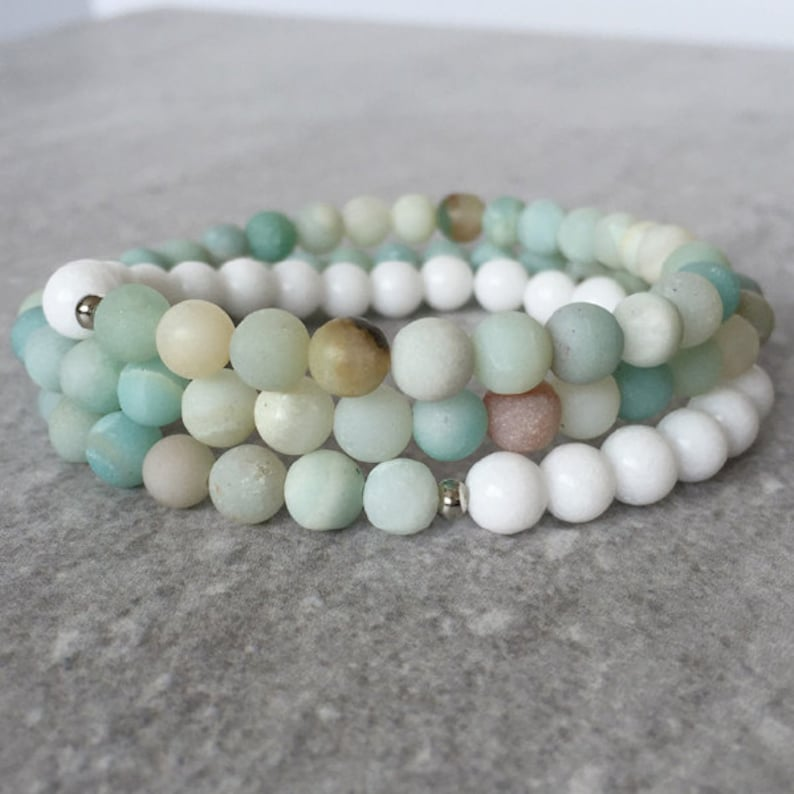 Intuition Wrap  Triple Stack Wrap Bracelet  White Jade & image 0