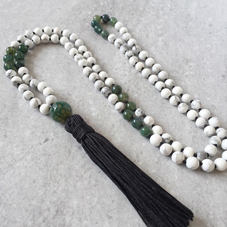 108 Mala Necklace / Tassel Prayer Beads / Moss Agate  Howlite image 0