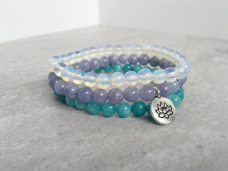 Oasis Stack Bracelet  Angelite Amazonite Opalite  Healing image 0