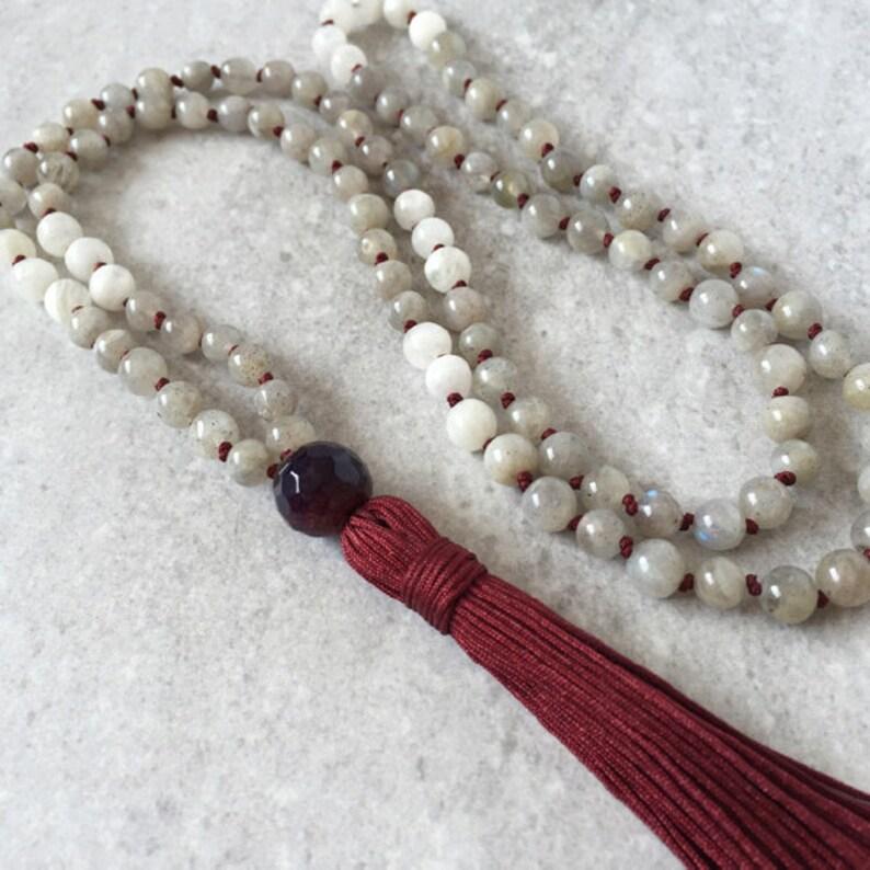 108 Mala Necklace / Tassel Prayer Beads / Labradorite  image 0