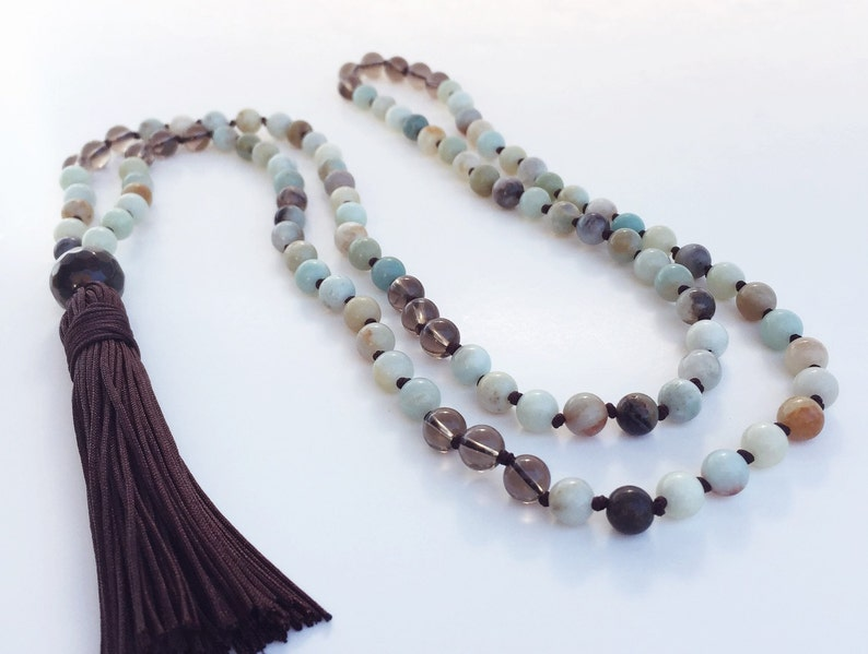 108 Mala Necklace / Tassel Prayer Beads / Amazonite  Smoky image 0