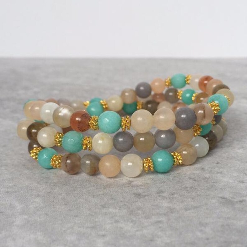 Nurtured Spirit Wrap  Peach Moonstone & Amazonite  Mala image 0