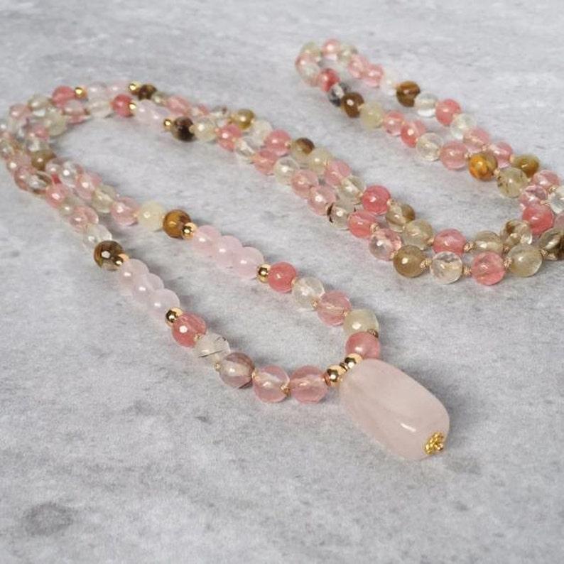 108 Mala Necklace / Tassel Prayer Beads / Rose Quartz  Cherry image 0
