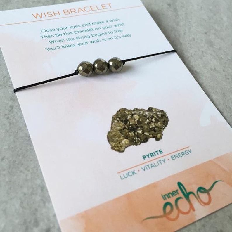 Pyrite Gemstone Wish Bracelet  Meaningful Lucky Friendship image 0