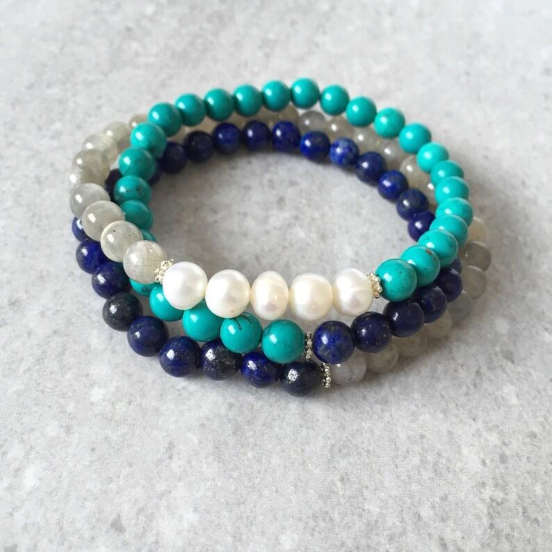 Ocean Wrap  Triple Stack Wrap Bracelet  Turquoise Lapis image 0