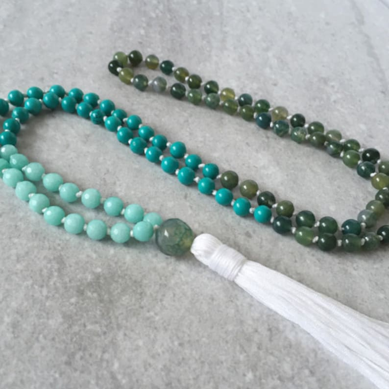 108 Mala Necklace / Tassel Prayer Beads / Turquoise  Agate  image 0