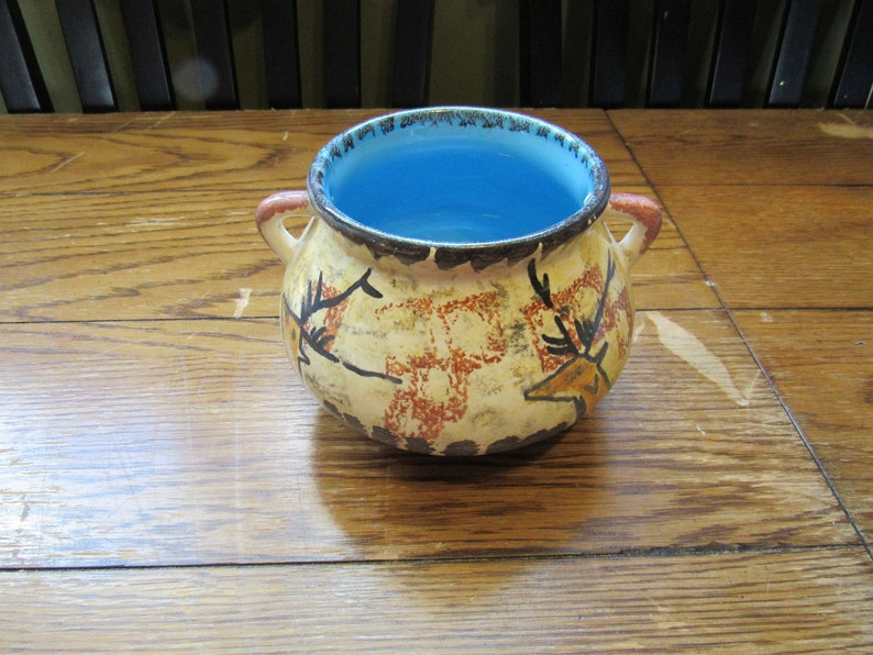 Signed By Artist Label Sarlat 1 Pottery Hand Painted Deer