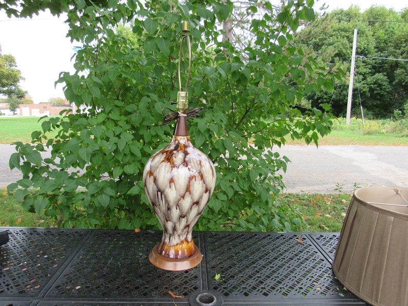 Mid-Century Drip Glaze Lava Table Lamp Art Deco Home Decor Pottery Mid Century Modern