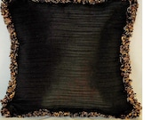 solid black pillow with fringe velvet linen burlap faux silk for sofa couch chair