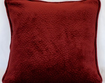 solid red burgundy textured velvet square decorative throw toss square living room bedroom den pillows for sofa couch