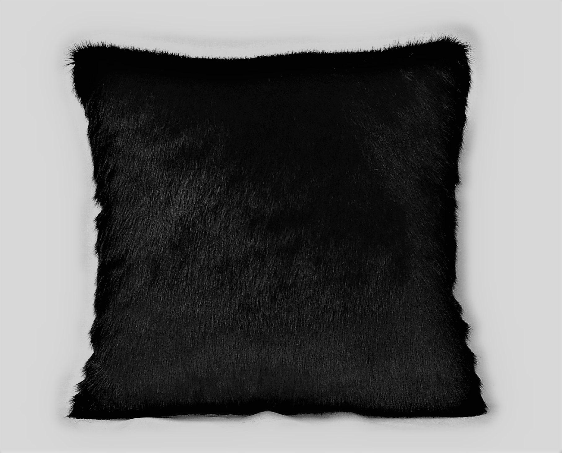 Black Silk Velvet Throw Pillow