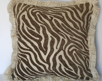 zebra animal skin decorative throw pillow in black white brown beige for sofa chair or couch