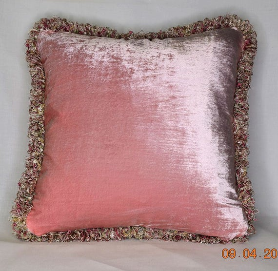 Large Pink Silk Velvet Throw Pillow With Fringe For Sofa Or