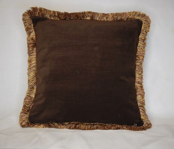 Large Brown Velvet Throw Pillow With Gold Fringe For Sofa