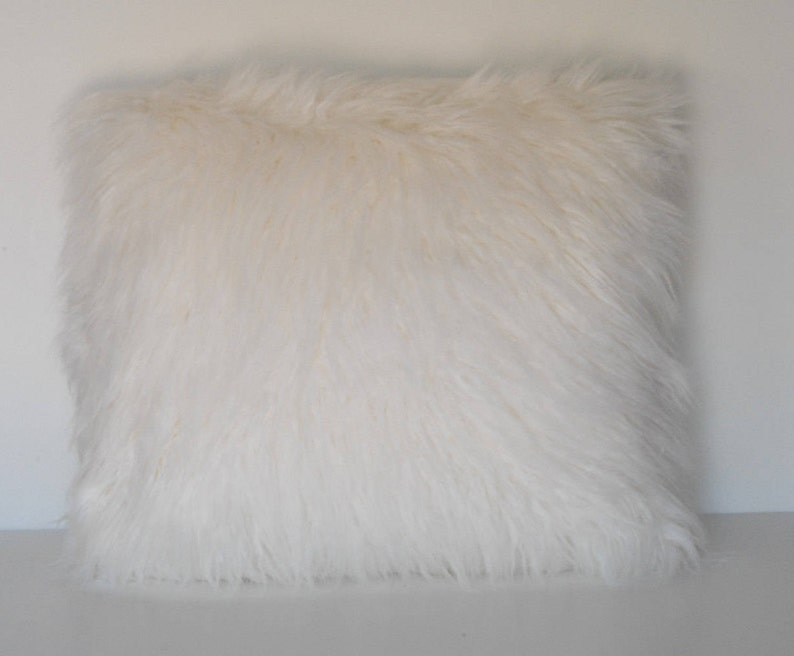 All Over Faux Fur Covered Hand Stitched Accent Pillow