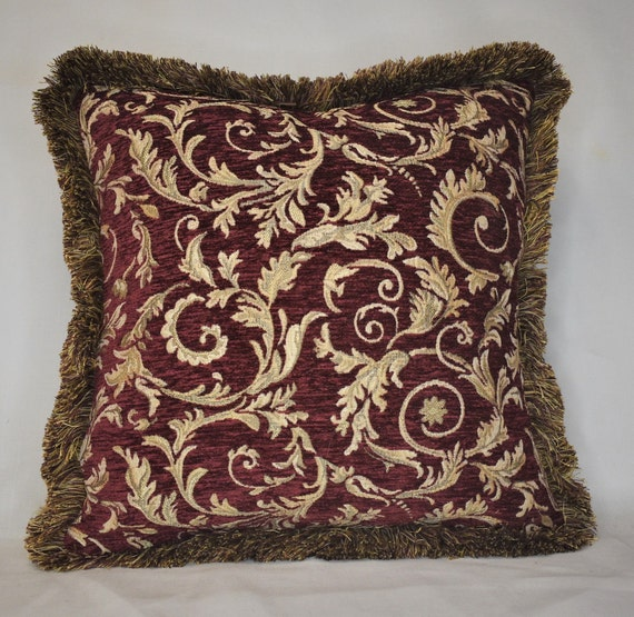 large burgundy red gold leaf decorative fringed throw pillow for couch