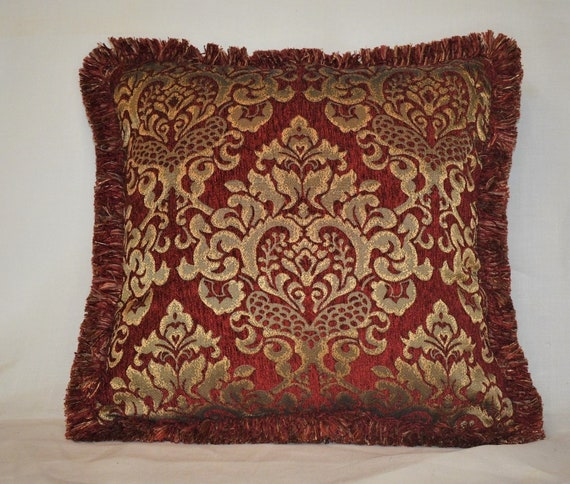 Throw Pillow Cover Red & Gold Chenille