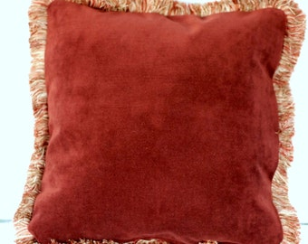 Large Chenille Red Gold Embroidered Throw Pillows With Fringe