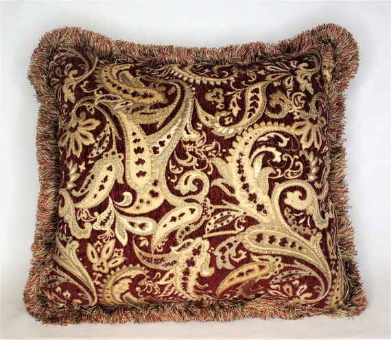 large paisely embroidered dark red and gold chenille throw pillow with  fringe for sofa or couch handmade in usa
