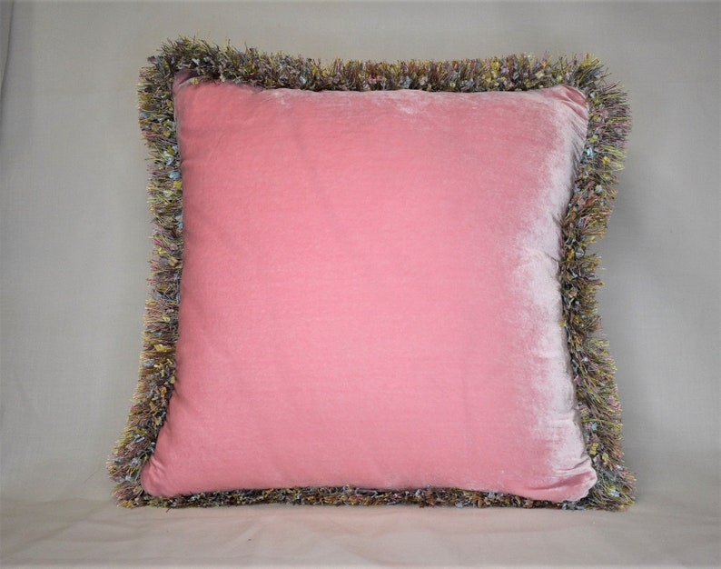 Pink velvet decorative throw pillow