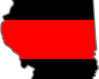 """4/"""" Illinois IL State Thin RED Line Firefighter IAFF Fire Company Decal Sticker"""