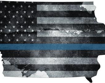 Iowa Thin Blue Line Flag Shirt Design Ready to Press First Responder Sublimation Transfer