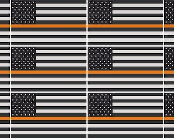 """12-2/"""" Thin Orange Line American Subdued Flag Decal Search Rescue SAR Sticker R"""