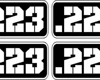 223 cal Oval EURO Decal in stencil font for Car Windows! .223 cal 223 caliber