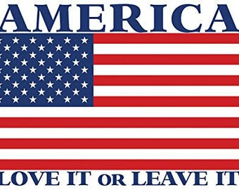 AMERICA Love It or Leave It Sticker (usa flag patriotic)
