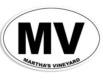 Oval Mv Martha'S Vineyard Sticker (Massachusetts Mass Ma Island)