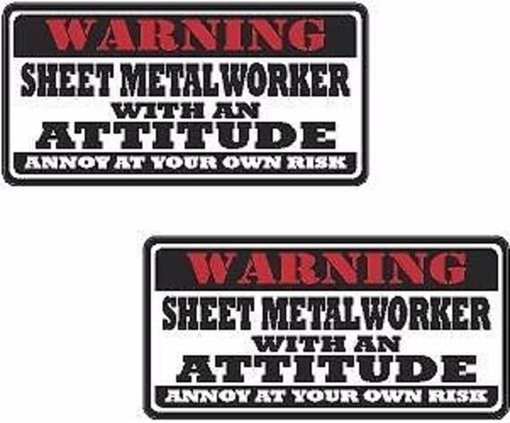 Magnet 2-3 Sheet Metal Worker Warning Decal Set Metalworking Hard Hat Magnetic Sticker Ws1