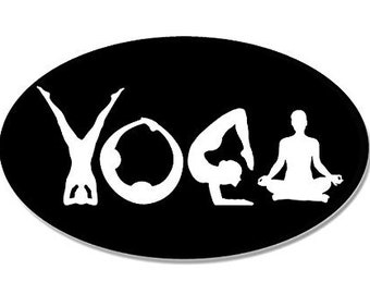BLACK Oval YOGA (Lettering Spelled out with Poses) Sticker
