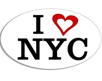 Oval I Heart Nyc (Love New York City Decal) Bumper Sticker