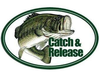 Oval Largemouth Bass Catch & Release Sticker (Fish Fishing Lure)