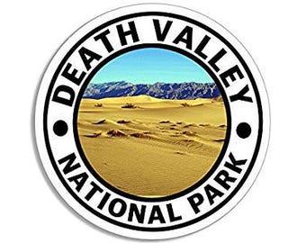 Round DEATH VALLEY National Park Sticker (hike travel rv)