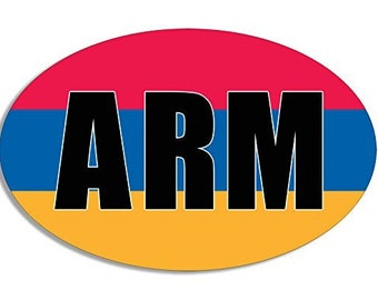 Oval Arm Armenia Sticker (Armenian Flag Decal)