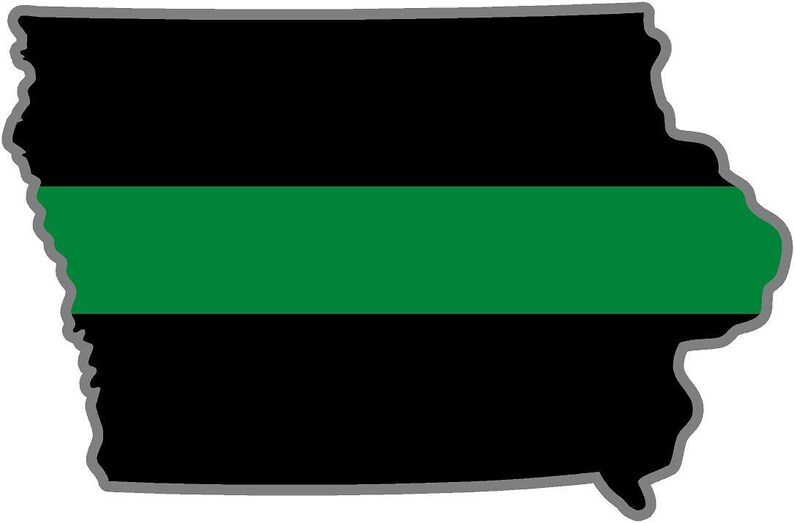 Magnet 4 Iowa Ia State Thin Green Line Military Ranger Federal Agent Decal Magnetic Sticker