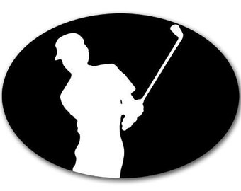 Oval Golfer Chip Shot Sticker (Fun Golf Decal)