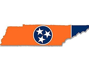 ORANGE Tennessee Shaped Flag Sticker (volunteer tn state tenn)