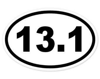 "13.1 Oval Half Marathon Run car bumper window sticker 5"" x 3"