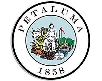 ROUND City of Petaluma California Seal Sticker (ca decal)