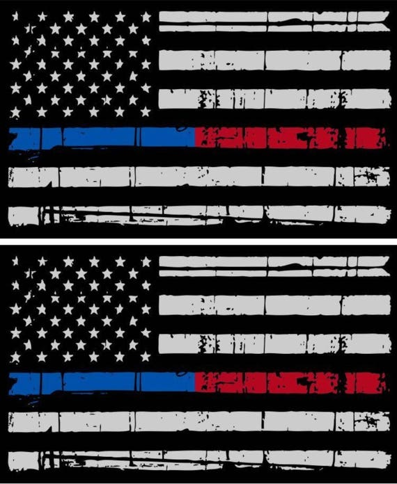 Some Gave All Police Fire Military Tattered Flag Decal Thin Gold Line Decal