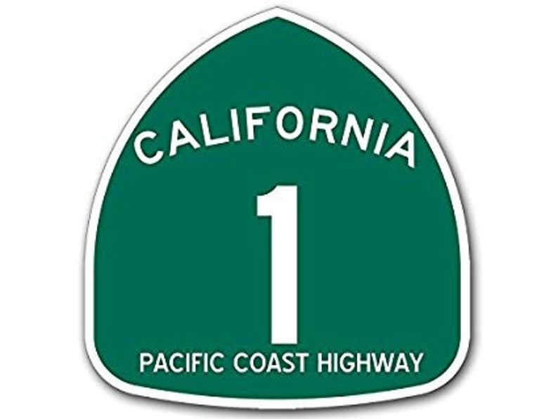 California 1 Pacific Coast Highway Sign Shaped Sticker (ca pch decal road  rv)