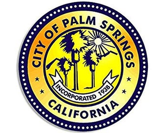 ROUND City of Palm Springs Seal California Sticker (ca golf decal)