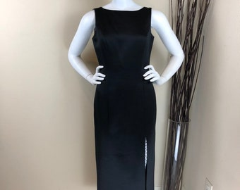 8c2942d3e50 Black Tie Oleg Cassini ~ 80s ~ Vintage Black Sleeveless with Side Slit Formal  Gown ~ Size 6