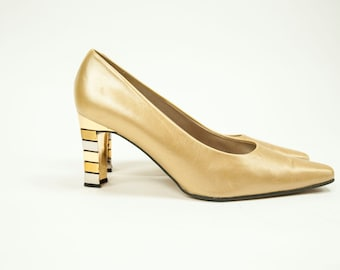 2952d9a114d Proxy ~ 80s ~ Gold Pumps with Silver